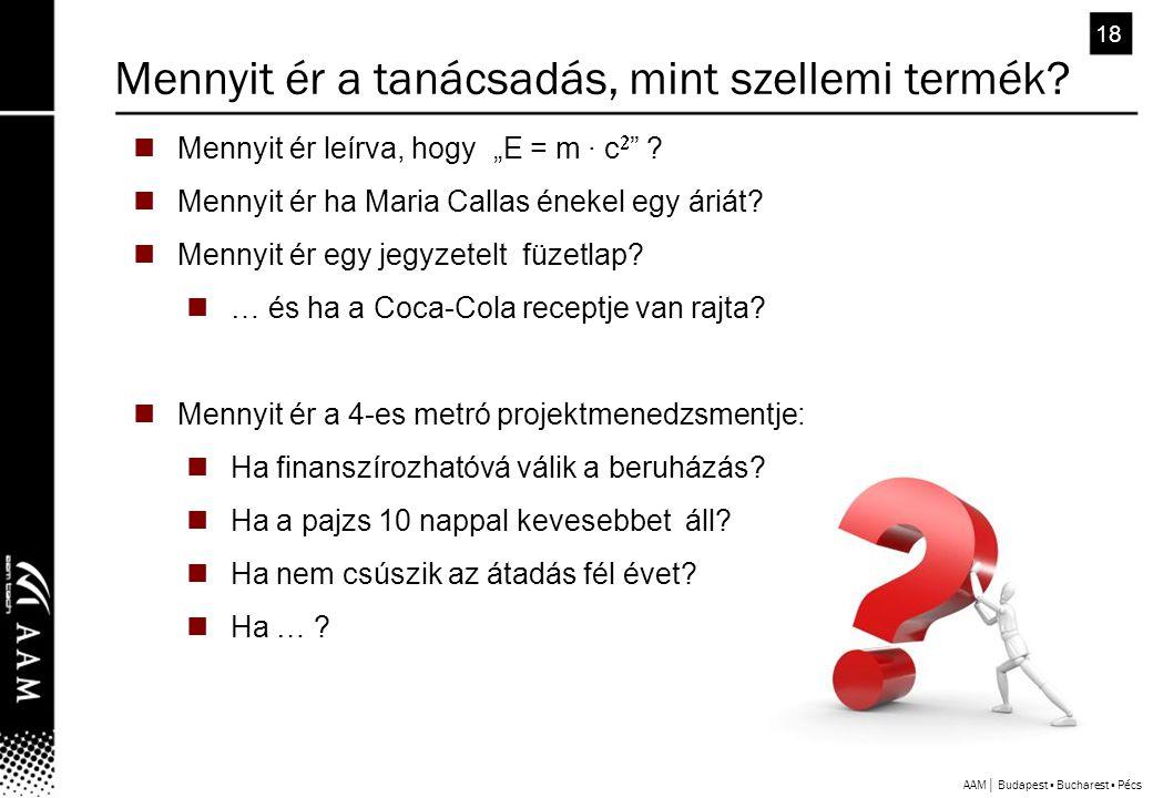 """AAM│ Budapest ▪ Bucharest ▪ Pécs 18  Mennyit ér leírva, hogy """"E = m ∙ c  ."""