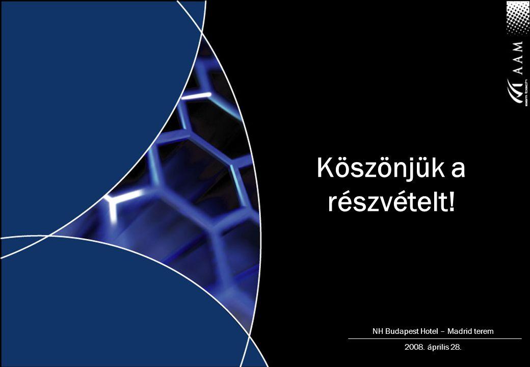 NH Budapest Hotel – Madrid terem 2008. április 28. Köszönjük a részvételt!
