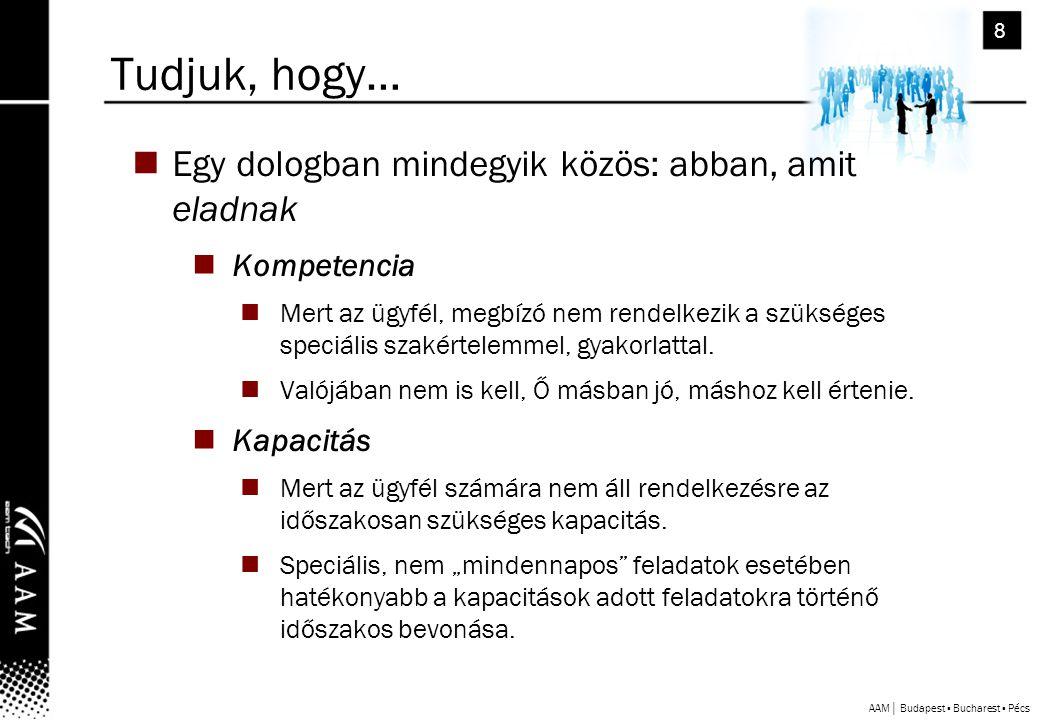 AAM│ Budapest ▪ Bucharest ▪ Pécs 8 Tudjuk, hogy… EEgy dologban mindegyik közös: abban, amit eladnak KKompetencia MMert az ügyfél, megbízó nem rendelkezik a szükséges speciális szakértelemmel, gyakorlattal.