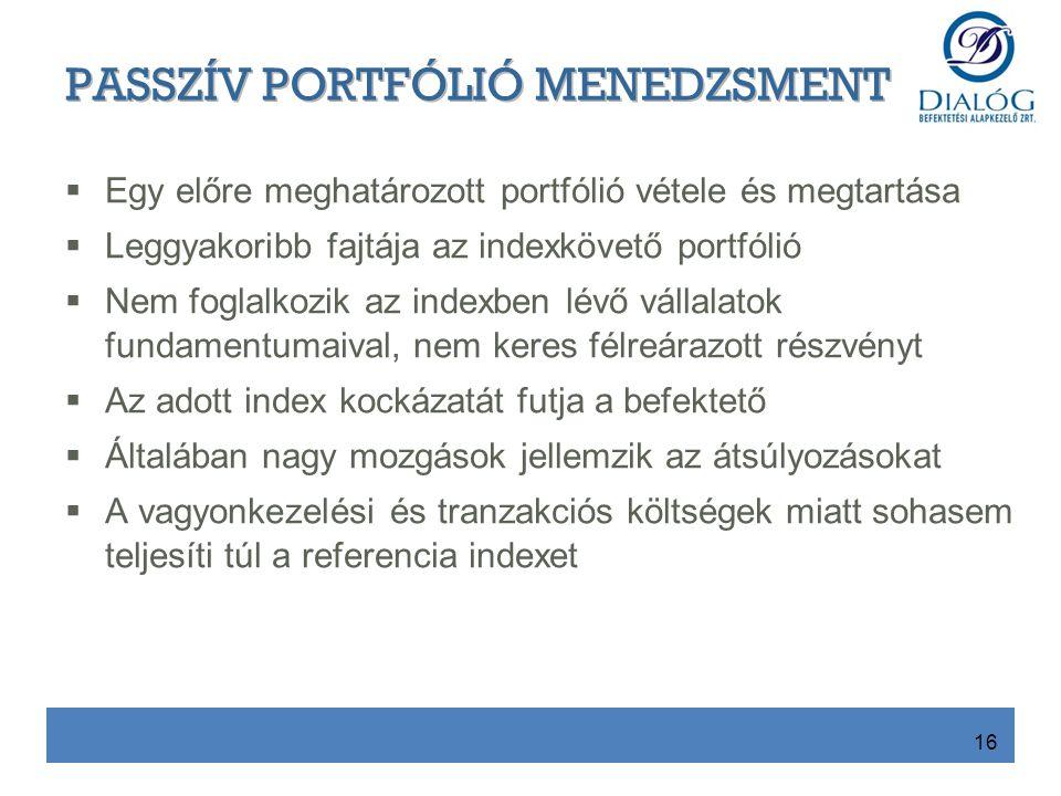  Egy előre meghatározott portfólió vétele és megtartása  Leggyakoribb fajtája az indexkövető portfólió  Nem foglalkozik az indexben lévő vállalatok fundamentumaival, nem keres félreárazott részvényt  Az adott index kockázatát futja a befektető  Általában nagy mozgások jellemzik az átsúlyozásokat  A vagyonkezelési és tranzakciós költségek miatt sohasem teljesíti túl a referencia indexet 16