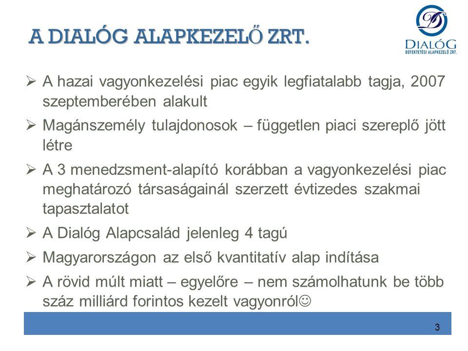  A hazai vagyonkezelési piac egyik legfiatalabb tagja, 2007 szeptemberében alakult  Magánszemély tulajdonosok – független piaci szereplő jött létre  A 3 menedzsment-alapító korábban a vagyonkezelési piac meghatározó társaságainál szerzett évtizedes szakmai tapasztalatot  A Dialóg Alapcsalád jelenleg 4 tagú  Magyarországon az első kvantitatív alap indítása  A rövid múlt miatt – egyelőre – nem számolhatunk be több száz milliárd forintos kezelt vagyonról  3