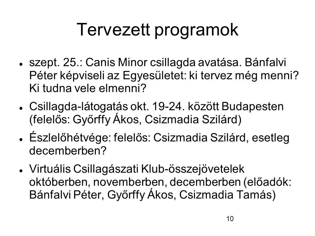 10 Tervezett programok  szept. 25.: Canis Minor csillagda avatása.