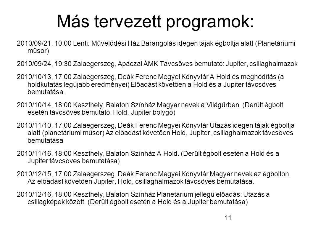 11 Más tervezett programok: 2010/09/21, 10:00 Lenti: Művelődési Ház Barangolás idegen tájak égboltja alatt (Planetáriumi műsor) 2010/09/24, 19:30 Zalaegerszeg, Apáczai ÁMK Távcsöves bemutató: Jupiter, csillaghalmazok 2010/10/13, 17:00 Zalaegerszeg, Deák Ferenc Megyei Könyvtár A Hold és meghódítás (a holdkutatás legújabb eredményei) Előadást követően a Hold és a Jupiter távcsöves bemutatása.