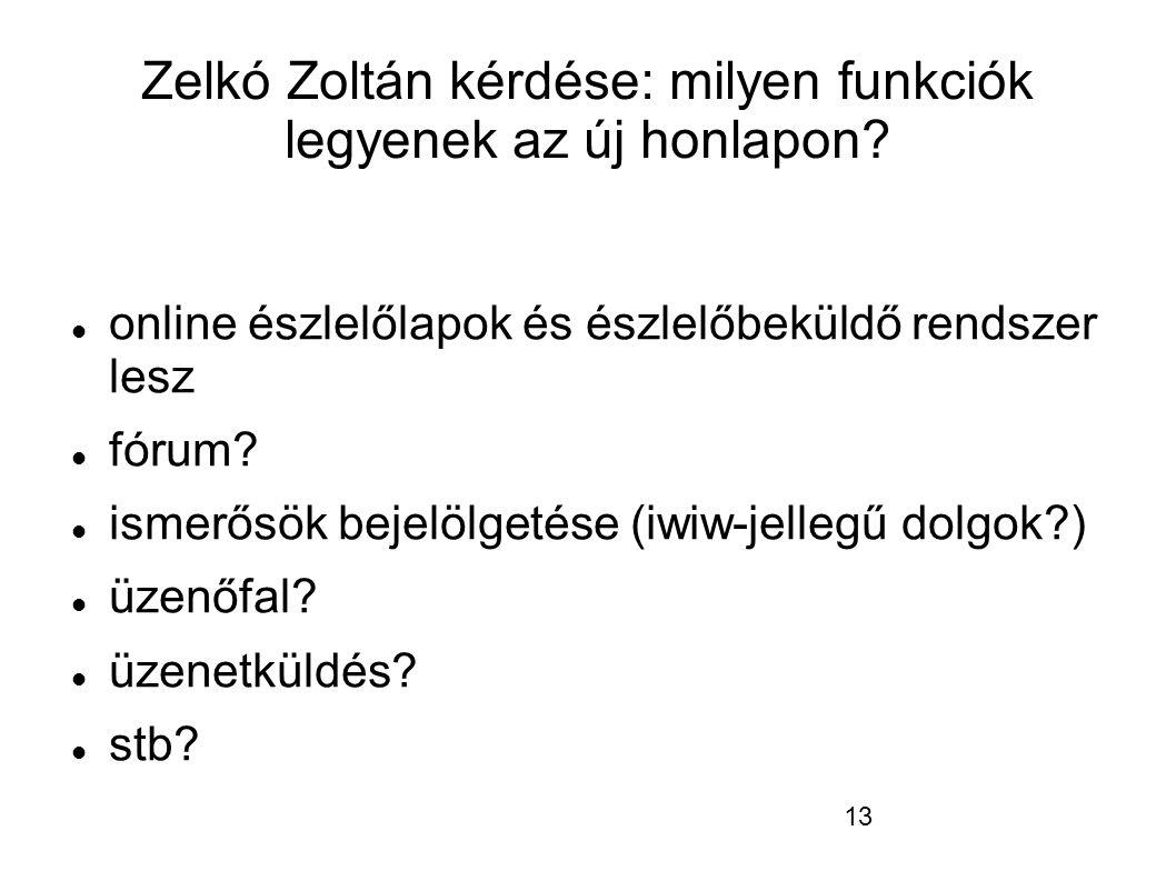 13 Zelkó Zoltán kérdése: milyen funkciók legyenek az új honlapon.