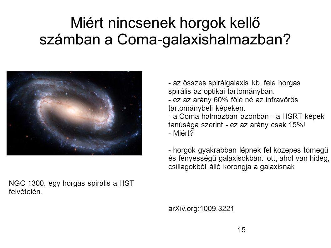 15 Miért nincsenek horgok kellő számban a Coma-galaxishalmazban.