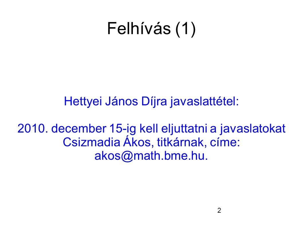 2 Felhívás (1) Hettyei János Díjra javaslattétel: 2010.