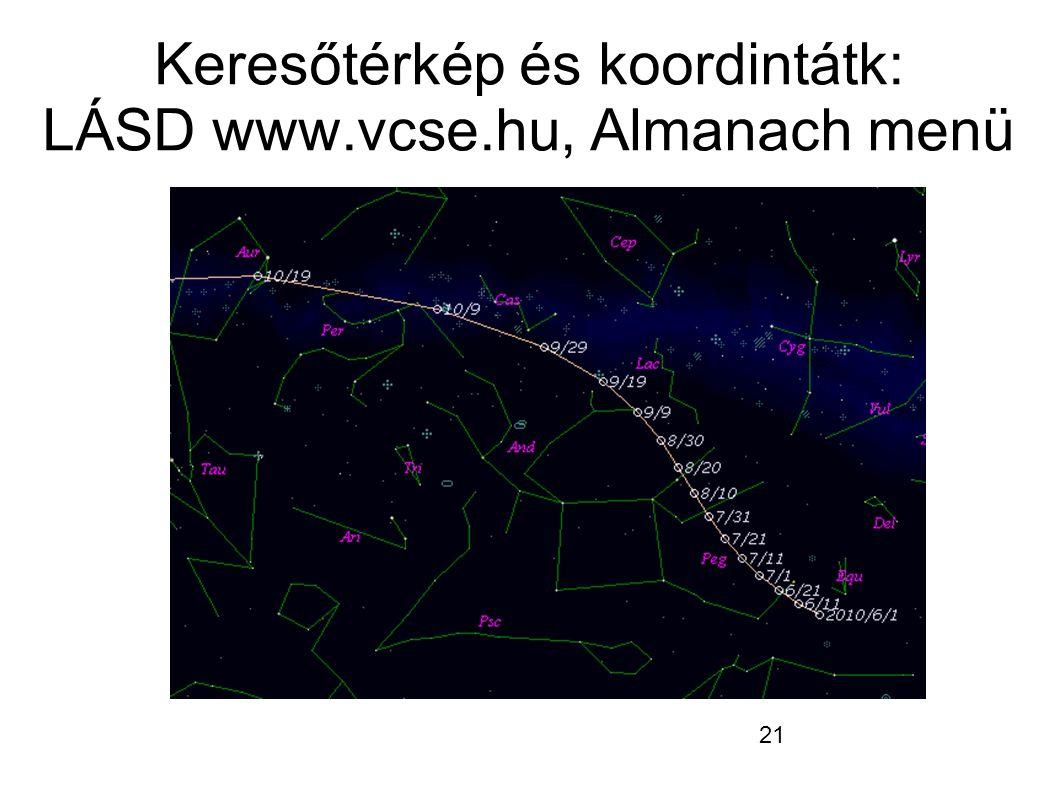 21 Keresőtérkép és koordintátk: LÁSD www.vcse.hu, Almanach menü