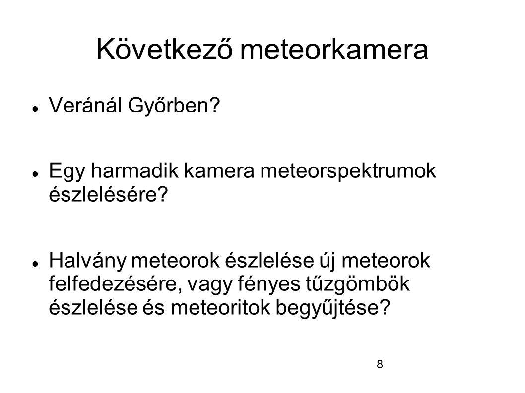 8 Következő meteorkamera  Veránál Győrben.  Egy harmadik kamera meteorspektrumok észlelésére.