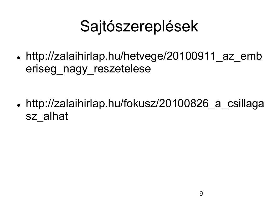 9 Sajtószereplések  http://zalaihirlap.hu/hetvege/20100911_az_emb eriseg_nagy_reszetelese  http://zalaihirlap.hu/fokusz/20100826_a_csillaga sz_alhat