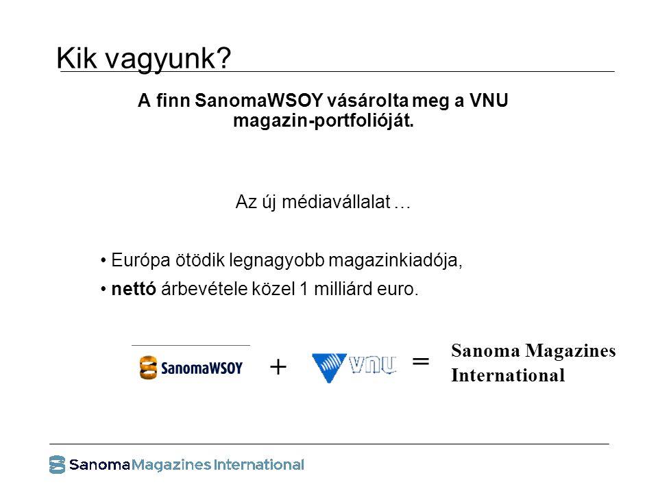 Kik vagyunk. A finn SanomaWSOY vásárolta meg a VNU magazin-portfolióját.