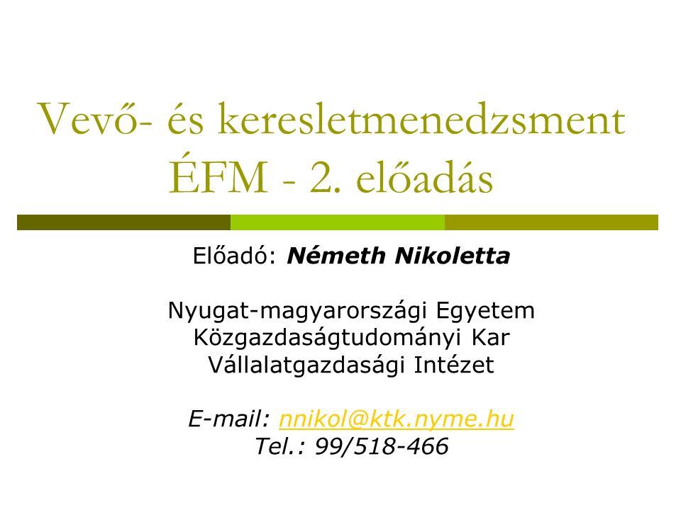 Vevő- és keresletmenedzsment ÉFM - 2. előadás Előadó: Németh Nikoletta Nyugat-magyarországi Egyetem Közgazdaságtudományi Kar Vállalatgazdasági Intézet