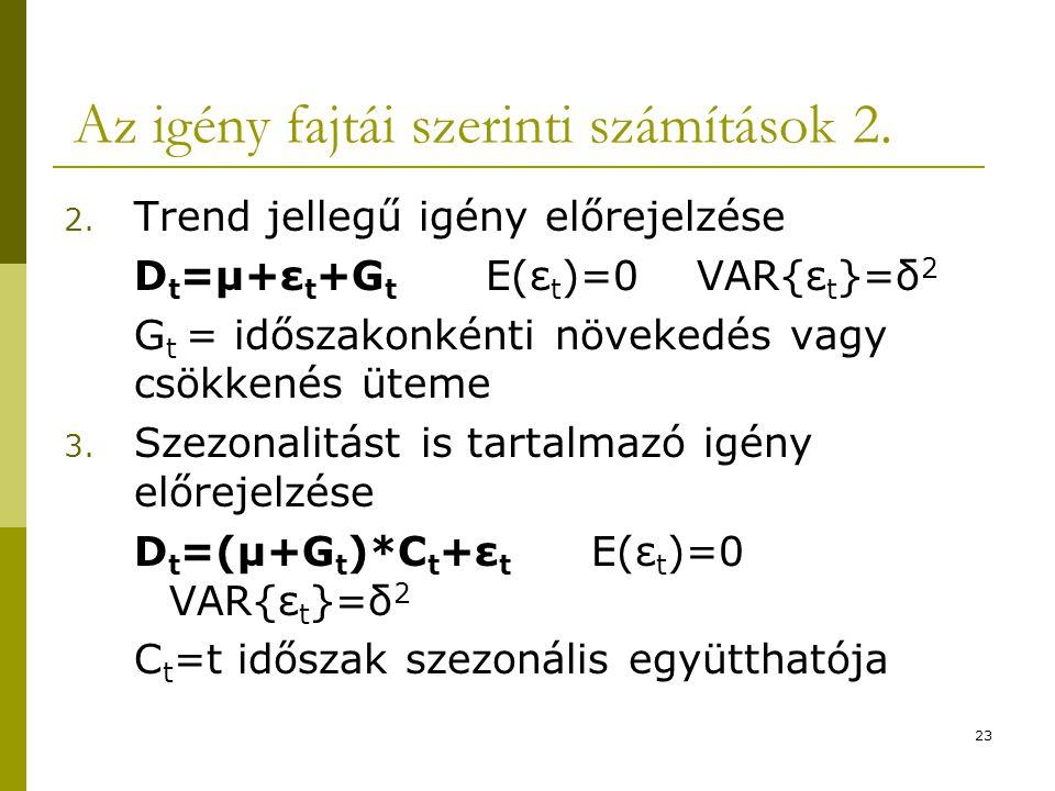 23 Az igény fajtái szerinti számítások 2. 2. Trend jellegű igény előrejelzése D t =μ+ε t +G t E(ε t )=0 VAR{ε t }=δ 2 G t = időszakonkénti növekedés v