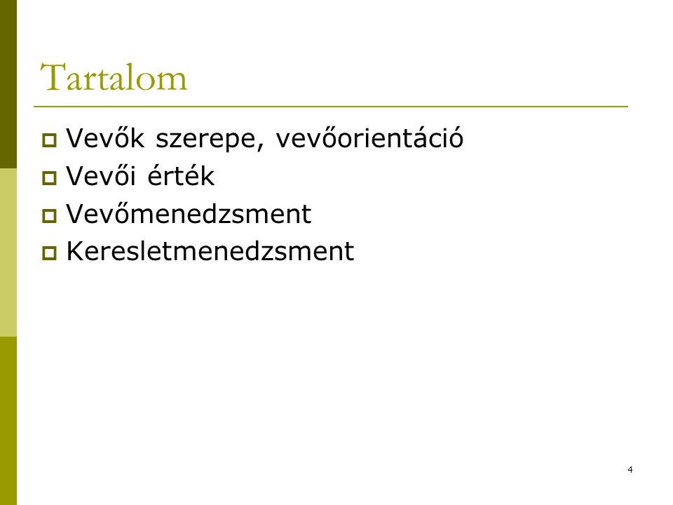 4 Tartalom  Vevők szerepe, vevőorientáció  Vevői érték  Vevőmenedzsment  Keresletmenedzsment