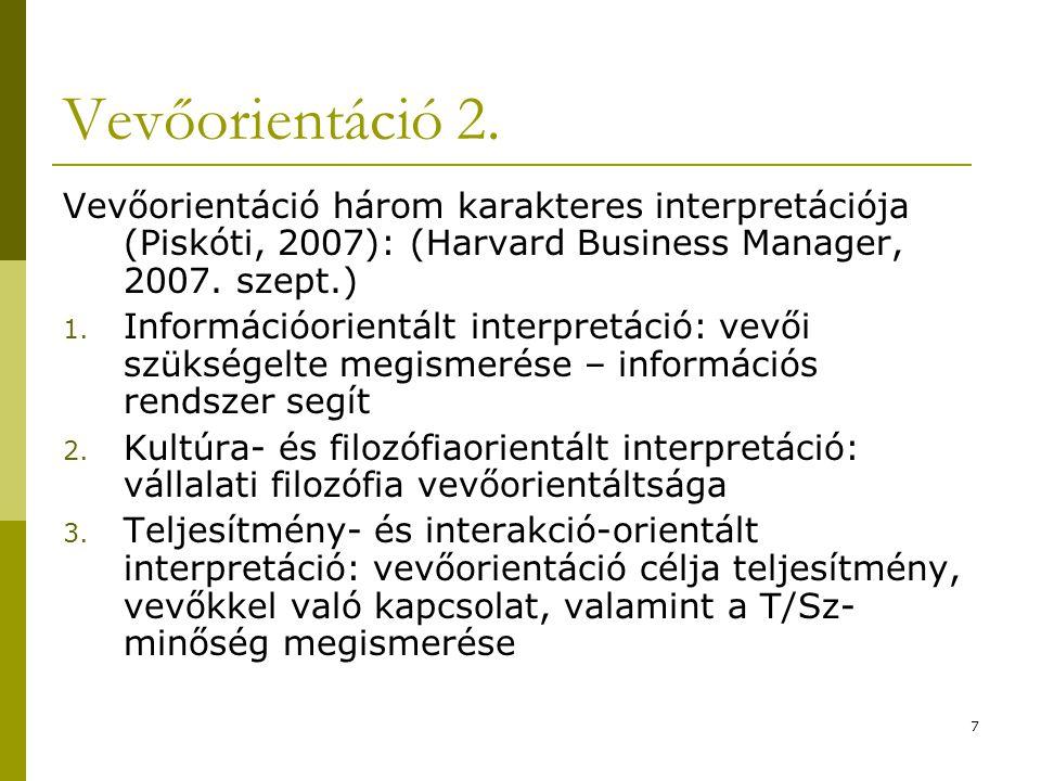 7 Vevőorientáció 2. Vevőorientáció három karakteres interpretációja (Piskóti, 2007): (Harvard Business Manager, 2007. szept.) 1. Információorientált i