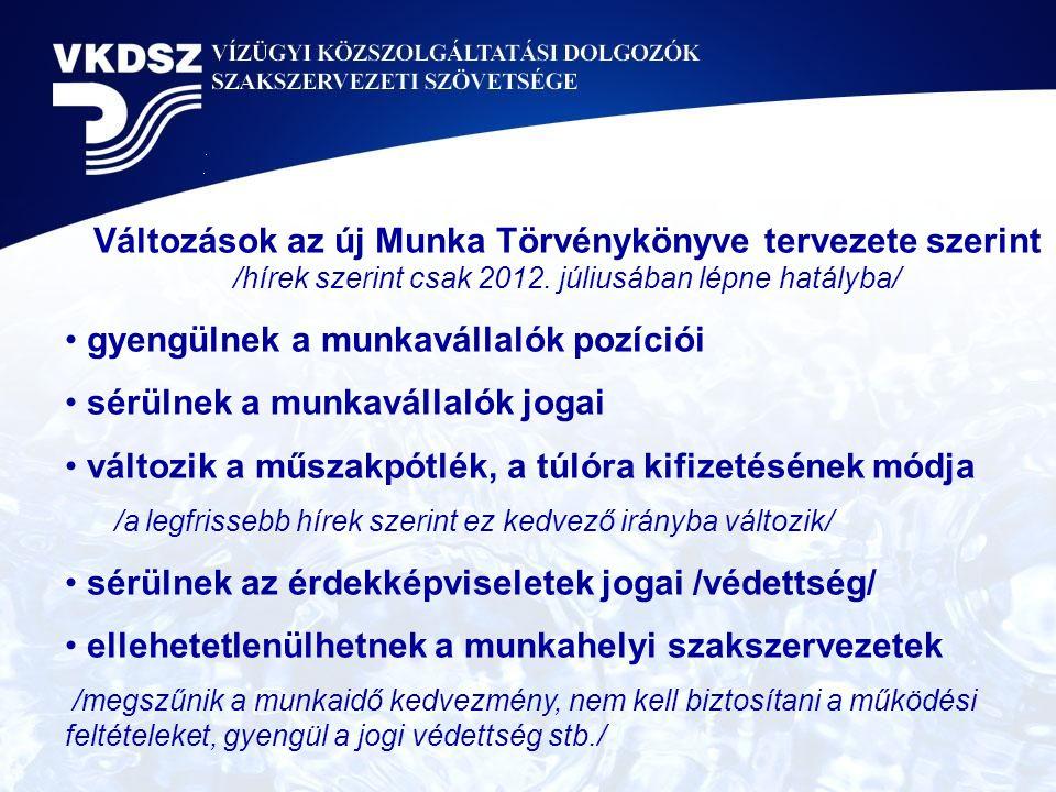 Változások az új Munka Törvénykönyve tervezete szerint /hírek szerint csak 2012. júliusában lépne hatályba/ • gyengülnek a munkavállalók pozíciói • sé