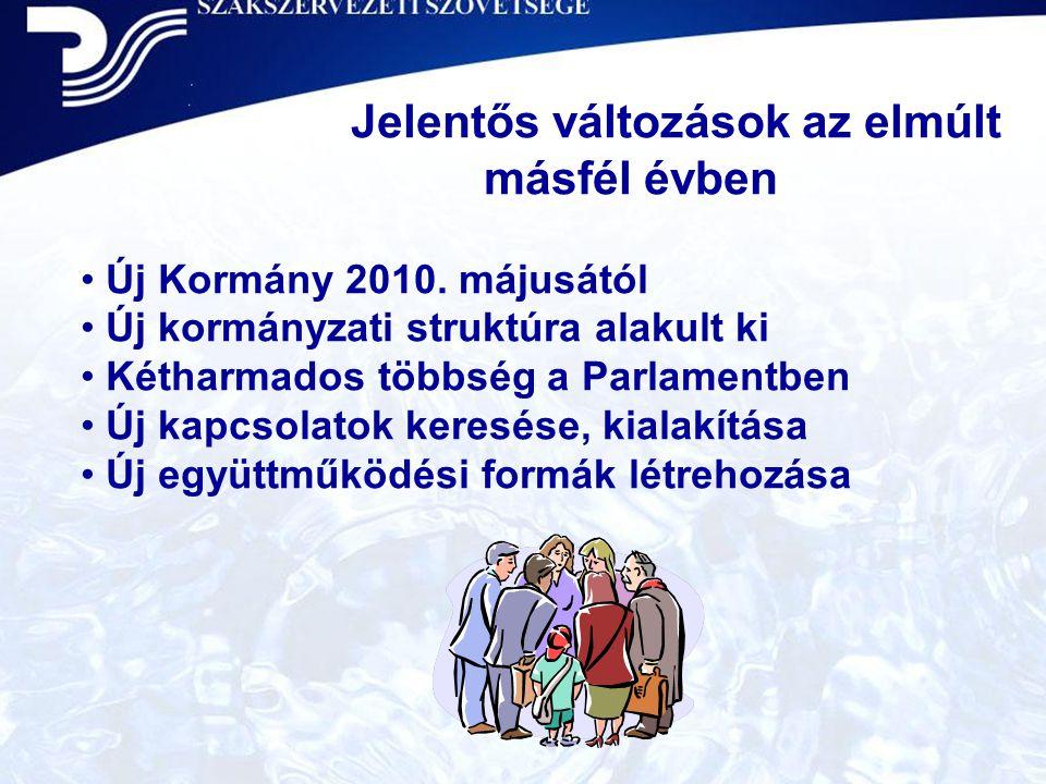 Jelentős változások az elmúlt másfél évben • Új Kormány 2010. májusától • Új kormányzati struktúra alakult ki • Kétharmados többség a Parlamentben • Ú