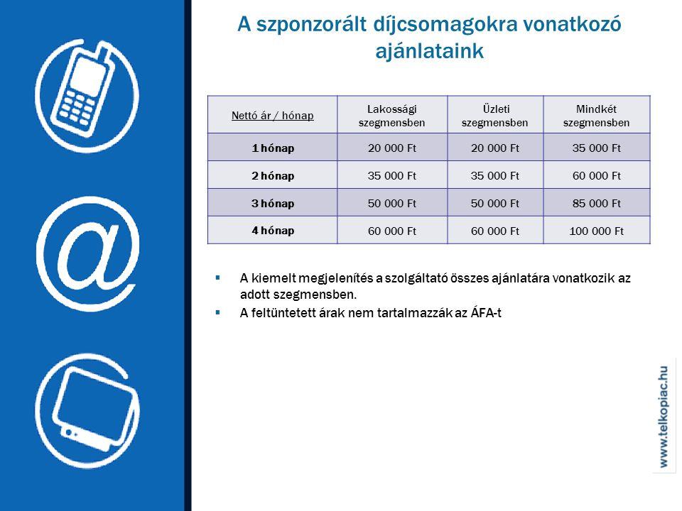 A szponzorált díjcsomagokra vonatkozó ajánlataink Nettó ár / hónap Lakossági szegmensben Üzleti szegmensben Mindkét szegmensben 1 hónap20 000 Ft 35 000 Ft 2 hónap35 000 Ft 60 000 Ft 3 hónap50 000 Ft 85 000 Ft 4 hónap 60 000 Ft 100 000 Ft  A kiemelt megjelenítés a szolgáltató összes ajánlatára vonatkozik az adott szegmensben.