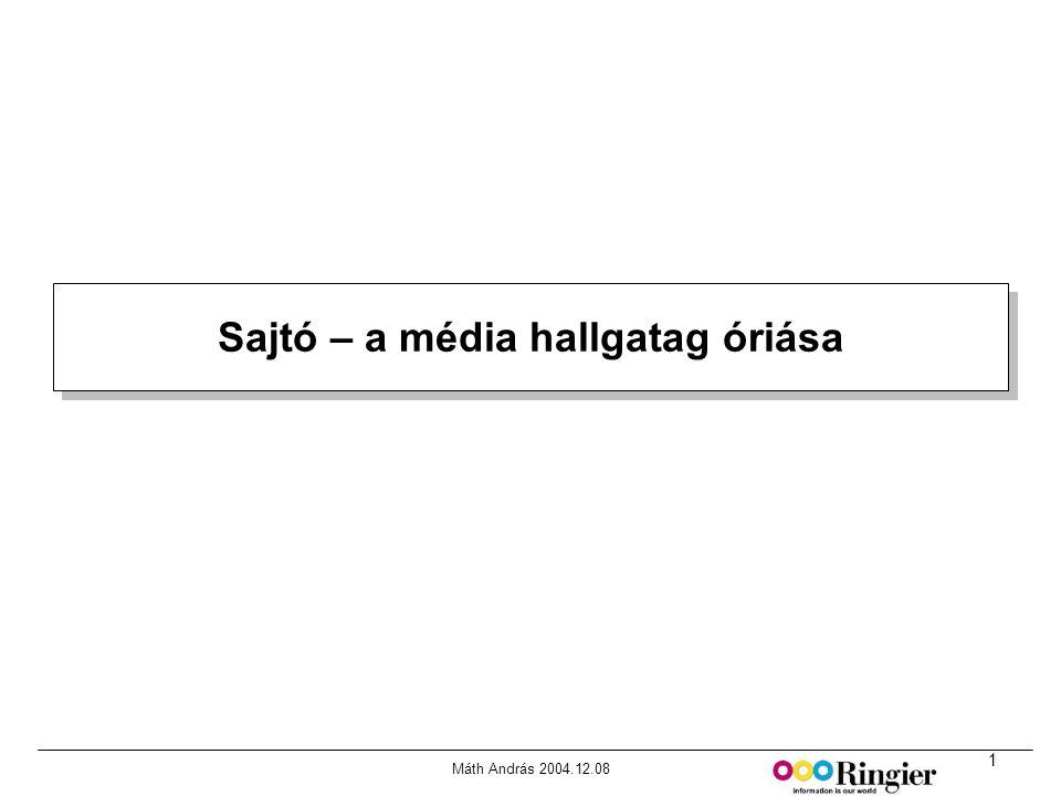 1 Máth András 2004.12.08 Sajtó – a média hallgatag óriása