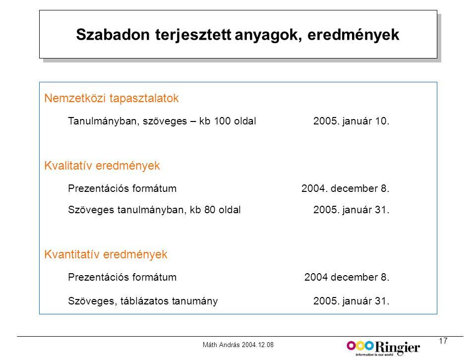 17 Máth András 2004.12.08 Szabadon terjesztett anyagok, eredmények Forrás: MRI Media Quintilies, Fall 2000 Nemzetközi tapasztalatok Tanulmányban, szöveges – kb 100 oldal 2005.