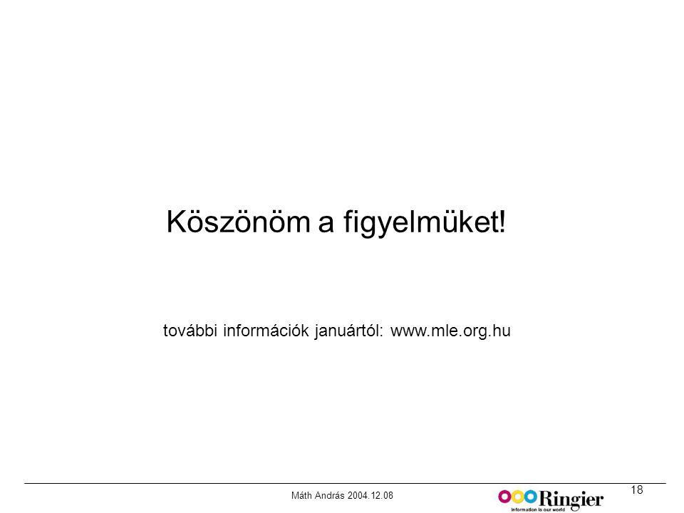 18 Máth András 2004.12.08 Forrás: MRI Media Quintilies, Fall 2000 Köszönöm a figyelmüket! további információk januártól: www.mle.org.hu