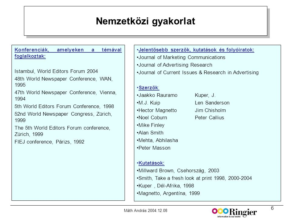 6 Máth András 2004.12.08 Nemzetközi gyakorlat Forrás: MRI Media Quintilies, Fall 2000 Konferenciák, amelyeken a témával foglalkoztak: Istambul, World Editors Forum 2004 48th World Newspaper Conference, WAN, 1995 47th World Newspaper Conference, Vienna, 1994 5th World Editors Forum Conference, 1998 52nd World Newspaper Congress, Zürich, 1999 The 5th World Editors Forum conference, Zürich, 1999 FIEJ conference, Párizs, 1992 •Jelentősebb szerzők, kutatások és folyóiratok: •Journal of Marketing Communications •Journal of Advertising Research •Journal of Current Issues & Research in Advertising •Szerzők: •Jaakko RauramoKuper, J.