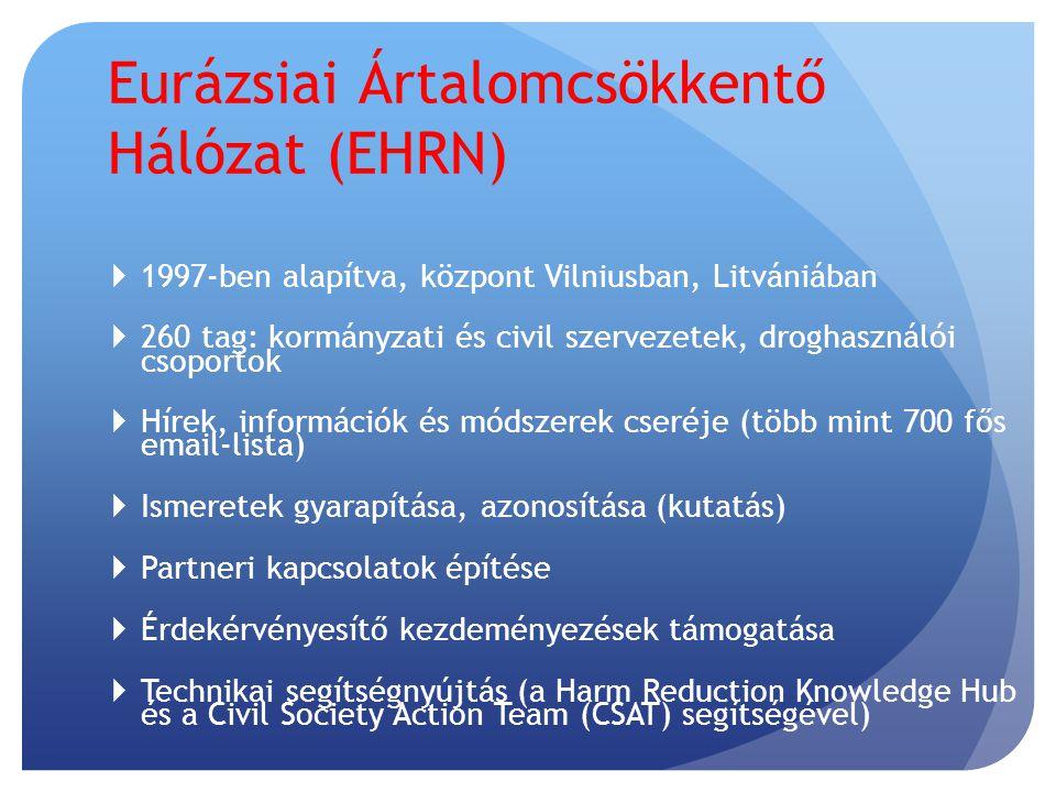  1997-ben alapítva, központ Vilniusban, Litvániában  260 tag: kormányzati és civil szervezetek, droghasználói csoportok  Hírek, információk és módszerek cseréje (több mint 700 fős email-lista)   Ismeretek gyarapítása, azonosítása (kutatás)   Partneri kapcsolatok építése  Érdekérvényesítő kezdeményezések támogatása  Technikai segítségnyújtás (a Harm Reduction Knowledge Hub és a Civil Society Action Team (CSAT) segítségével)  Eurázsiai Ártalomcsökkentő Hálózat (EHRN) 