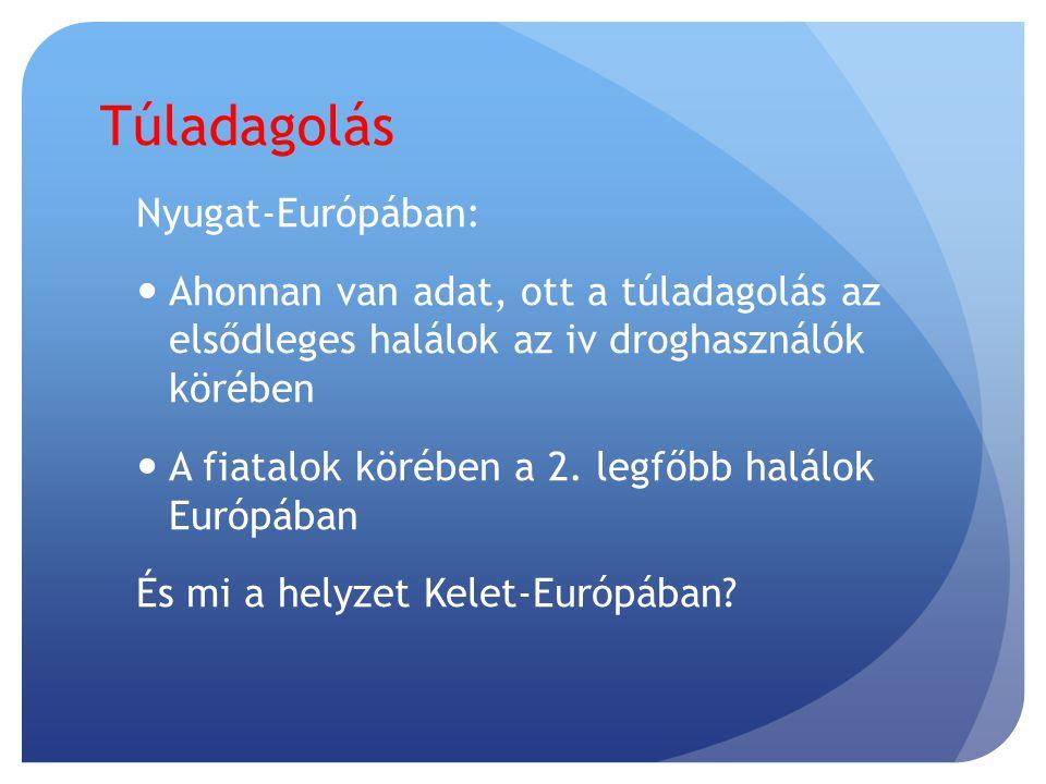 Nyugat-Európában:  Ahonnan van adat, ott a túladagolás az elsődleges halálok az iv droghasználók körében  A fiatalok körében a 2.