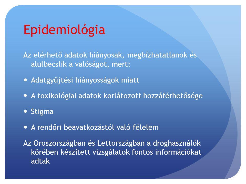 A megfelelő adatok hiányának okai  Nem prioritás  Nem ismerik fel, hogy ez egy megelőzhető halálok  Egyetlen intézménynek sem felelőssége  Igazságügyi orvosi szakértőre és laboratóriumra van szükség  Szükséges a túladagolás mint halálok felismerése  A túladagolásos halál konzisztens definíciójára van szükség  Szociális stigma (+/- regisztráció)  Pénzügyi megfontolások