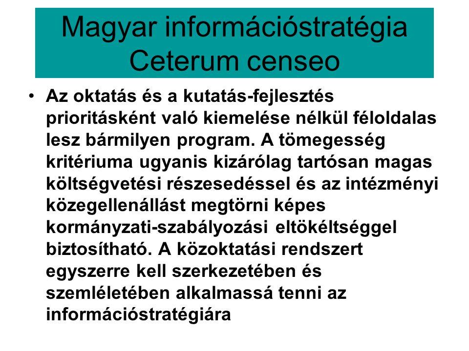 Magyar információstratégia Ceterum censeo •Az oktatás és a kutatás-fejlesztés prioritásként való kiemelése nélkül féloldalas lesz bármilyen program.