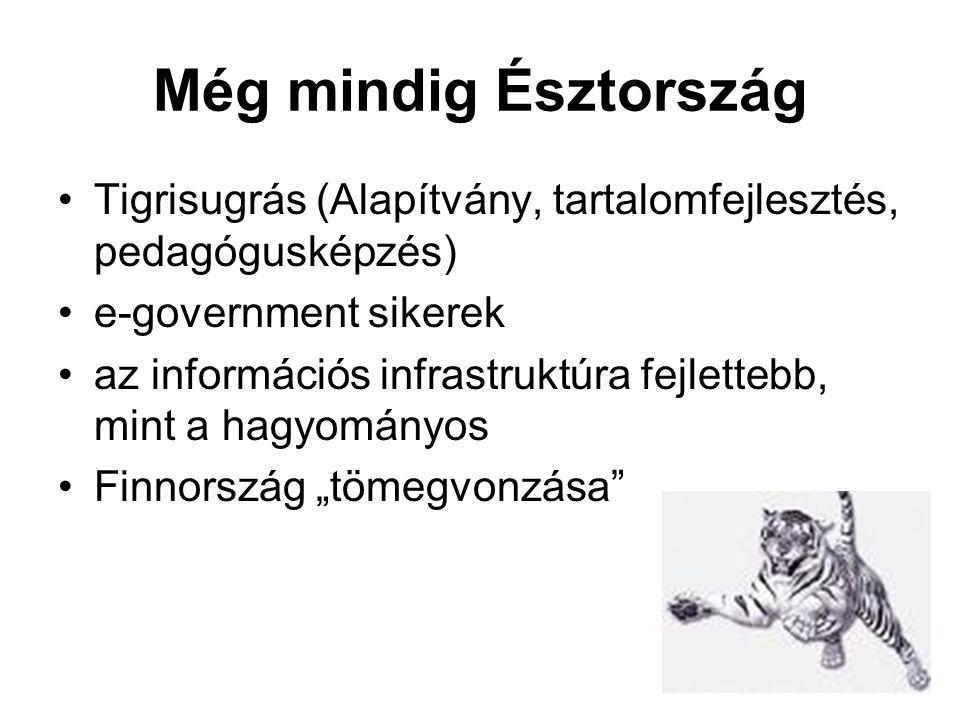 """Még mindig Észtország •Tigrisugrás (Alapítvány, tartalomfejlesztés, pedagógusképzés) •e-government sikerek •az információs infrastruktúra fejlettebb, mint a hagyományos •Finnország """"tömegvonzása"""
