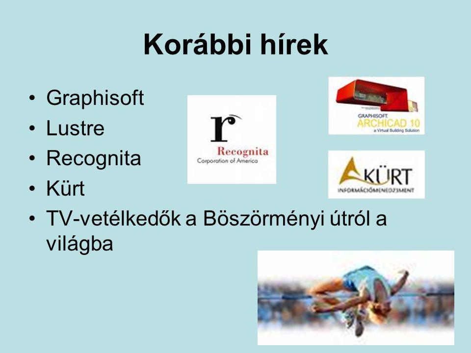 Korábbi hírek •Graphisoft •Lustre •Recognita •Kürt •TV-vetélkedők a Böszörményi útról a világba