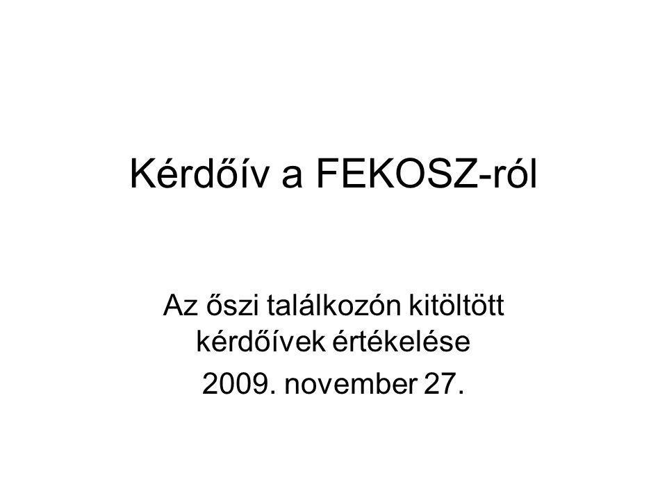 Kérdőív a FEKOSZ-ról Az őszi találkozón kitöltött kérdőívek értékelése 2009. november 27.