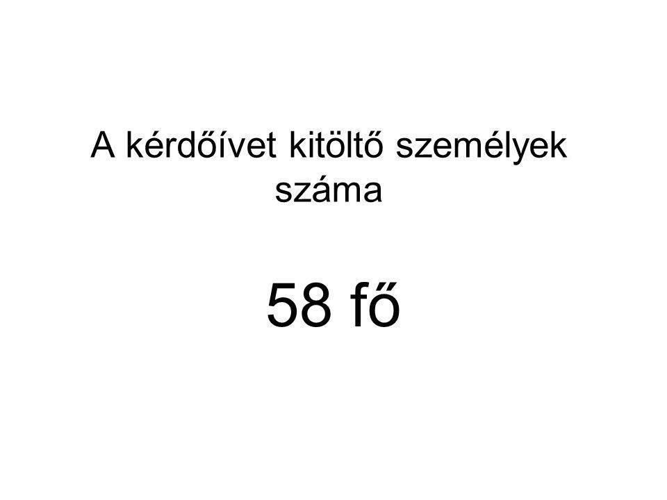 A kérdőívet kitöltő személyek száma 58 fő
