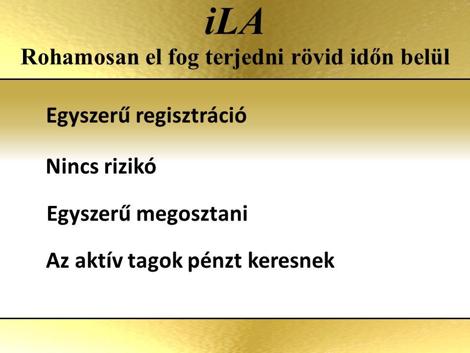 iLA Rohamosan el fog terjedni rövid időn belül Egyszerű regisztráció Nincs rizikó Az aktív tagok pénzt keresnek Egyszerű megosztani
