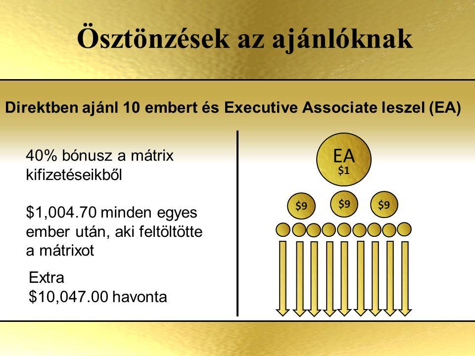 Ösztönzések az ajánlóknak Direktben ajánl 10 embert és Executive Associate leszel (EA) Extra $10,047.00 havonta 40% bónusz a mátrix kifizetéseikből $1,004.70 minden egyes ember után, aki feltöltötte a mátrixot EA $1 $9