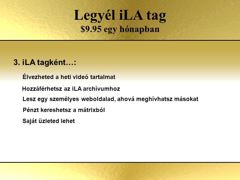 Two Options of Involvement Legyél iLA tag $9.95 egy hónapban 3.