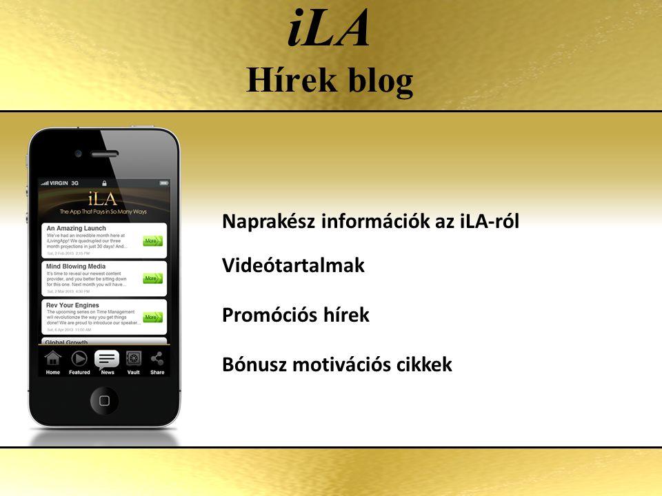 iLA Hírek blog Naprakész információk az iLA-ról Videótartalmak Promóciós hírek Bónusz motivációs cikkek