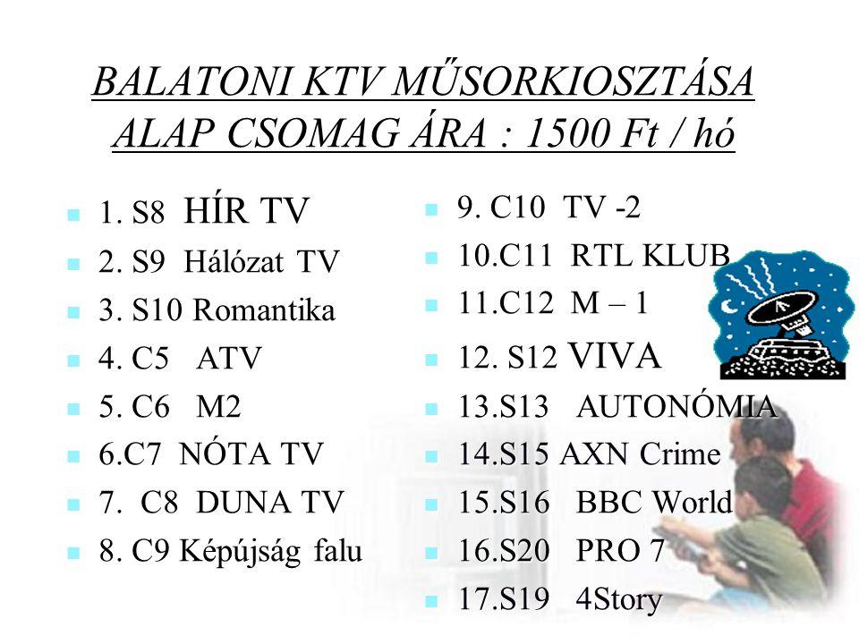 BALATONI KTV MŰSORKIOSZTÁSA ALAP CSOMAG ÁRA : 1500 Ft / hó  1. S8 HÍR TV  2. S9 Hálózat TV  3. S10 Romantika  4. C5 ATV  5. C6 M2  6.C7 NÓTA TV