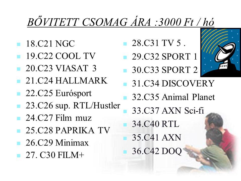 BŐVITETT CSOMAG ÁRA :3000 Ft / hó  18.C21 NGC  19.C22 COOL TV  20.C23 VIASAT 3  21.C24 HALLMARK  22.C25 Eurósport  23.C26 sup. RTL/Hustler  24.