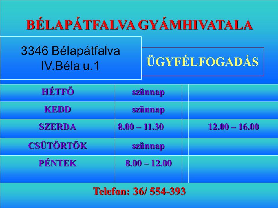 36 BÉLAPÁTFALVA GYÁMHIVATALA HÉTFŐszünnap KEDDszünnap SZERDA 8.00 – 11.30 12.00 – 16.00 CSÜTÖRTÖKszünnap PÉNTEK 8.00 – 12.00 Telefon: 36/ 554-393 ÜGYF
