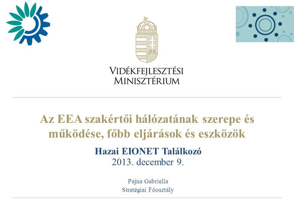 Az EEA szakértői hálózatának szerepe és működése, főbb eljárások és eszközök Hazai EIONET Találkozó 2013.