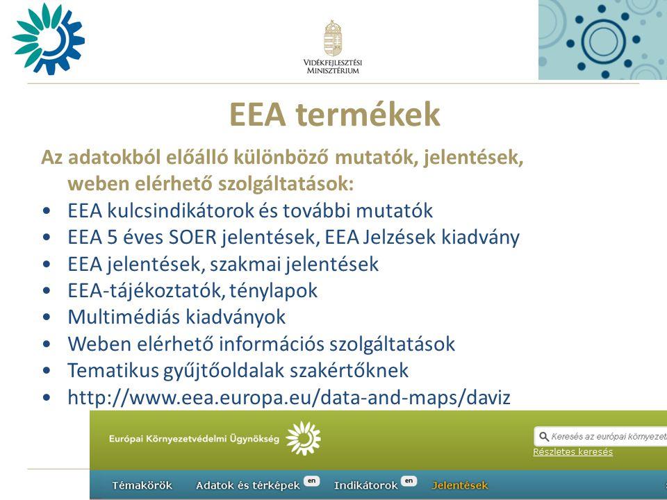 11 EEA termékek Az adatokból előálló különböző mutatók, jelentések, weben elérhető szolgáltatások: •EEA kulcsindikátorok és további mutatók •EEA 5 éves SOER jelentések, EEA Jelzések kiadvány •EEA jelentések, szakmai jelentések •EEA-tájékoztatók, ténylapok •Multimédiás kiadványok •Weben elérhető információs szolgáltatások •Tematikus gyűjtőoldalak szakértőknek •http://www.eea.europa.eu/data-and-maps/daviz