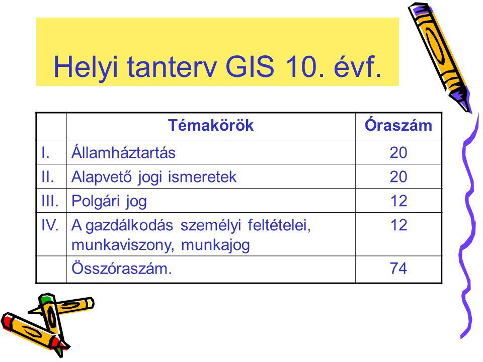 Helyi tanterv GIS 10.évf.