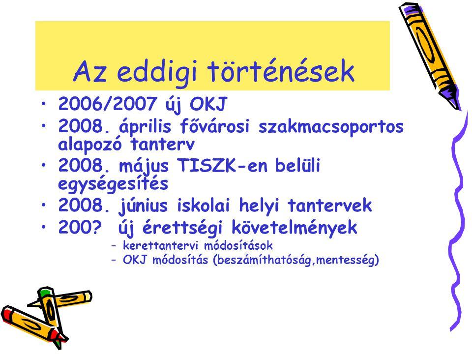 Az eddigi történések •2006/2007 új OKJ •2008. április fővárosi szakmacsoportos alapozó tanterv •2008. május TISZK-en belüli egységesítés •2008. június