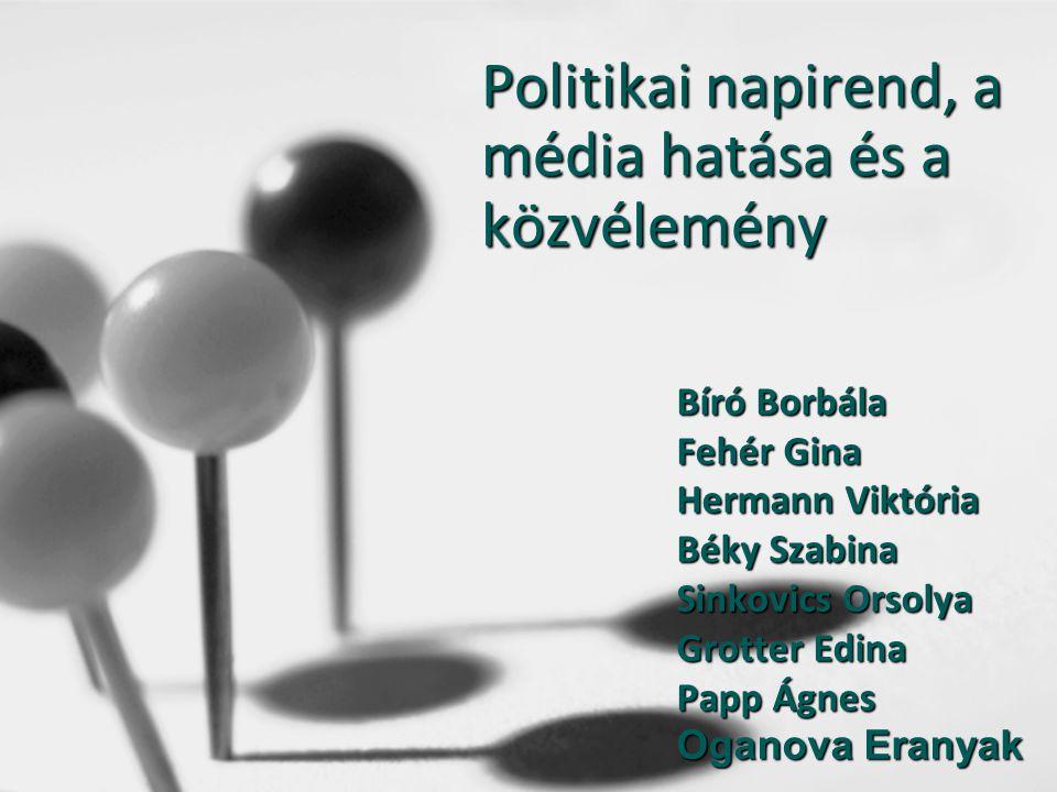 Politikai napirend, a média hatása és a közvélemény Bíró Borbála Fehér Gina Hermann Viktória Béky Szabina Sinkovics Orsolya Grotter Edina Papp Ágnes O