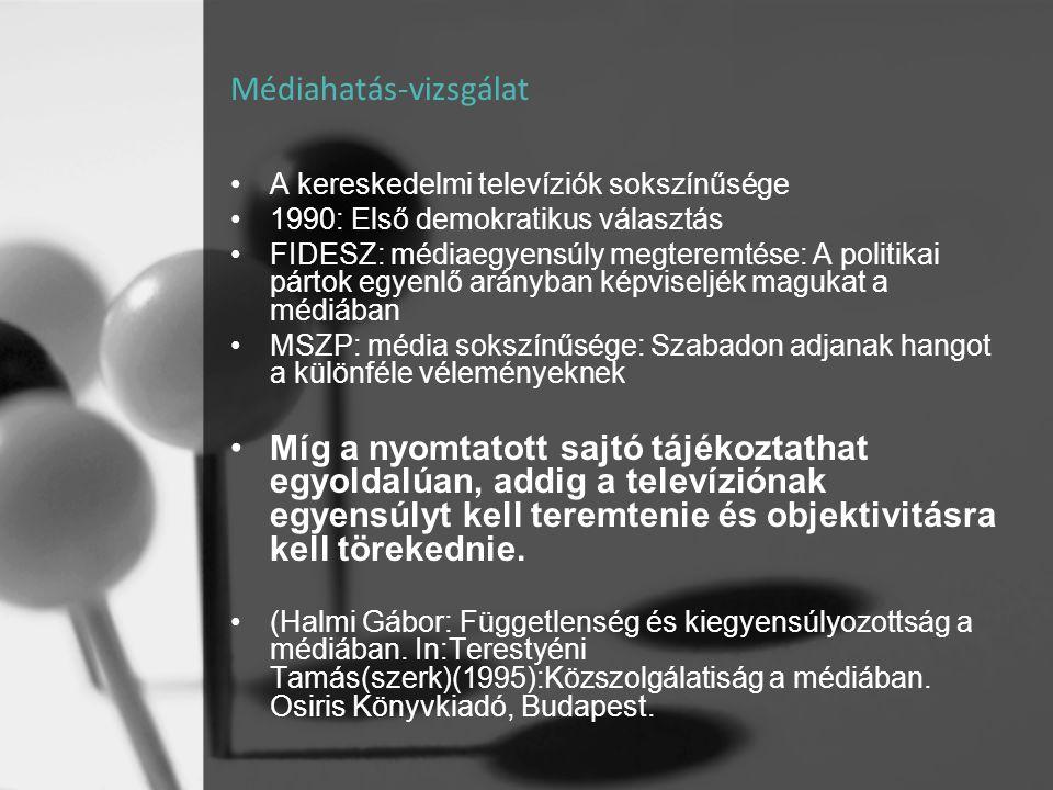Médiahatás-vizsgálat •A kereskedelmi televíziók sokszínűsége •1990: Első demokratikus választás •FIDESZ: médiaegyensúly megteremtése: A politikai párt