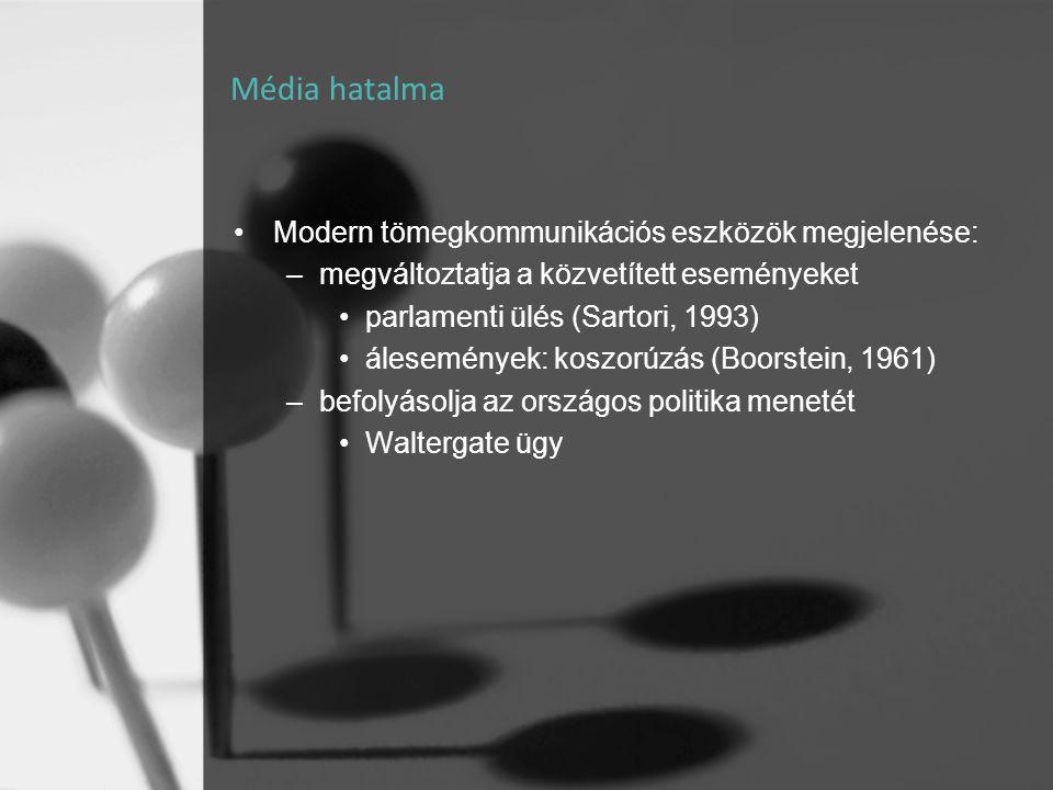 Média hatalma •Modern tömegkommunikációs eszközök megjelenése: –megváltoztatja a közvetített eseményeket •parlamenti ülés (Sartori, 1993) •álesemények
