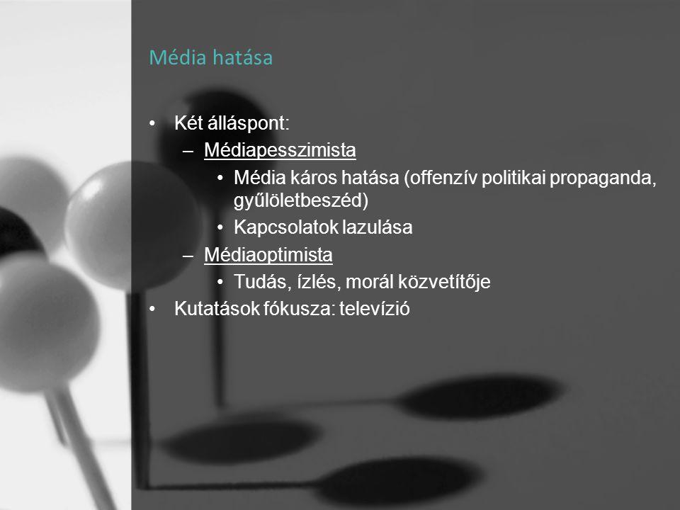 Média hatása •Két álláspont: –Médiapesszimista •Média káros hatása (offenzív politikai propaganda, gyűlöletbeszéd) •Kapcsolatok lazulása –Médiaoptimis