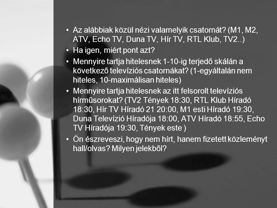•Az alábbiak közül nézi valamelyik csatornát? (M1, M2, ATV, Echo TV, Duna TV, Hír TV, RTL Klub, TV2..) •Ha igen, miért pont azt? •Mennyire tartja hite