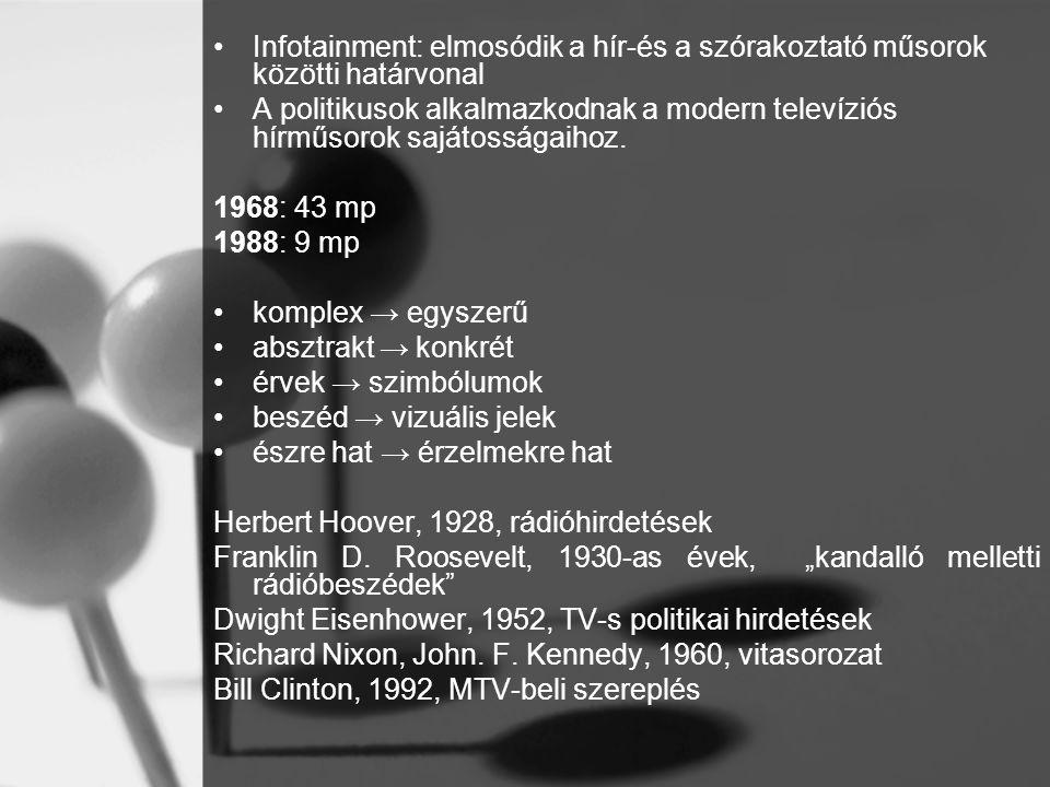 •Infotainment: elmosódik a hír-és a szórakoztató műsorok közötti határvonal •A politikusok alkalmazkodnak a modern televíziós hírműsorok sajátosságaih